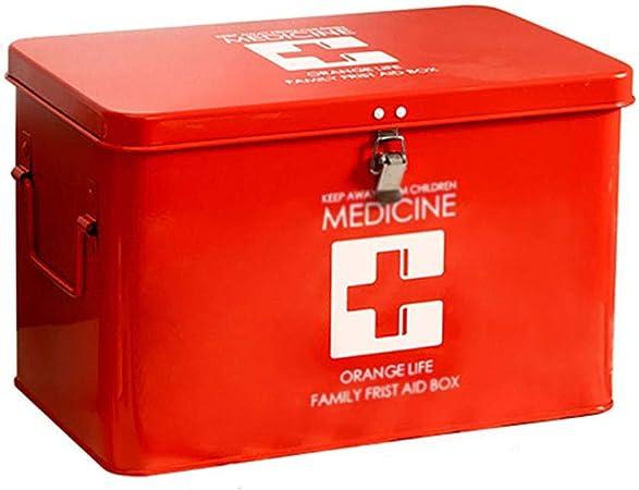 Caja De Almacenamiento De Medicamentos, Caja De Primeros Auxilios De Metal con Asas Laterales, Caja De Llaves De Bandeja Extraíble Superior para Pastillas, Medicamentos Recetados - Blanco/Rojo: Amazon.es: Hogar