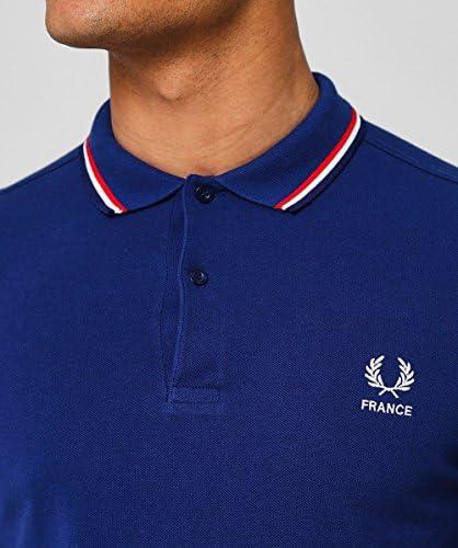 Fred Perry Hombres Doble Punta Francia Polo Camisa Marina De ...