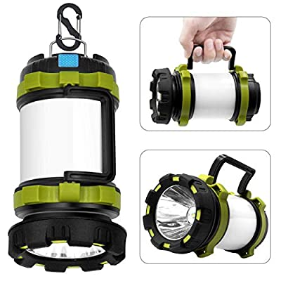 Wsky Rechargeable Camping Lantern Flashlight, 6 Modes, 3600mAh Power Bank, Two Way Hook of Hanging, Perfect for Camping, Hiking, Outdoor Recreations, USB Charging Cable Included