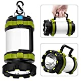 3. Wsky Rechargeable Camping Lantern Flashlight, 6 Modes, 3600mAh Power Bank, Two Way Hook of Hanging, Perfect for Camping, Hiking, Outdoor Recreations, USB Charging Cable Included...