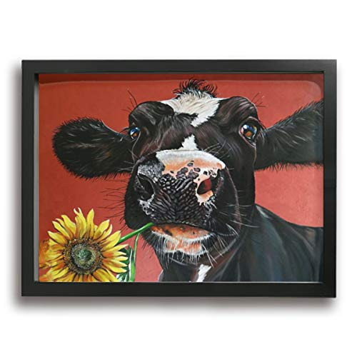 Kingsleyton Farm Cow Sunflower Giclee Picture Print Framed Canvas Wall Art Modern Giclee Artwork Home Decor Ready to Hang Wall Decoration - Poster Art Print Moulton