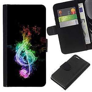 KLONGSHOP // Tirón de la caja Cartera de cuero con ranuras para tarjetas - Música Colores Colores Nota - Apple Iphone 5C //