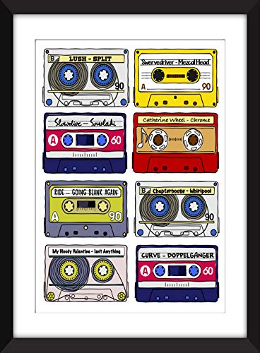 Classic Shoegaze Albums - Retro Cassette Artwork - Unframed Print - Ideal Gift for Shoegaze Fan