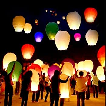 Amazon.com: 10 PCS Sky Lanterns Paper Lanterns Chinese Wishing ...