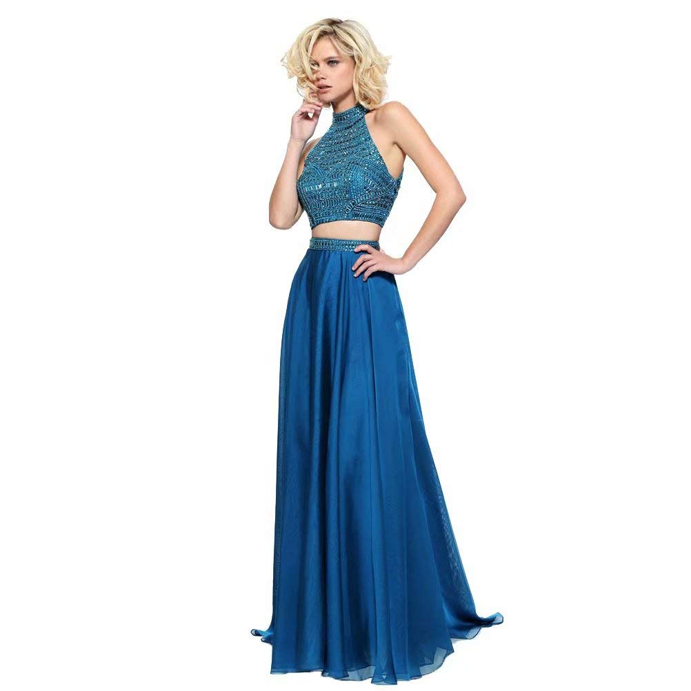 Dark bluee Unions Women Two Piece High Neck Long Prom Dresses Crystal Beaded Formal Evening Gown