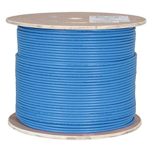 Vertical Cable Cat6A 10G, STP, 23AWG, Solid Bare Copper, PVC, 1000ft, Blue, Bulk Ethernet Cable