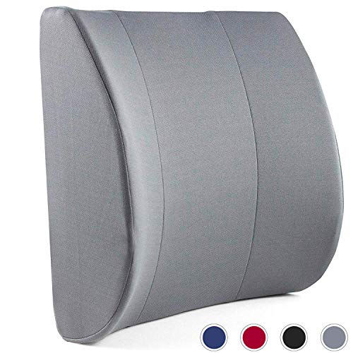 DMI Lumbar Support Pillow for Office or Kitchen Chair, Car Seat or Wheelchair Comes with Removable Washable Cover and Firm Insert to Ease Lower Back Pain and Discomfort While Improving Posture, Gray
