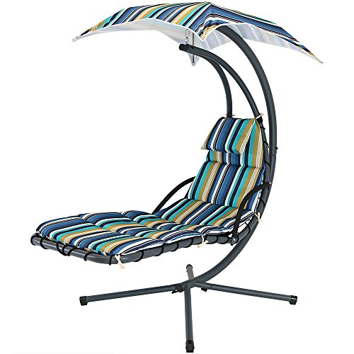 Sunnydaze Lakeview Floating Chaise Lounger Swing Chair with Canopy Umbrella, 43 Inch Wide x 80 Inch Tall