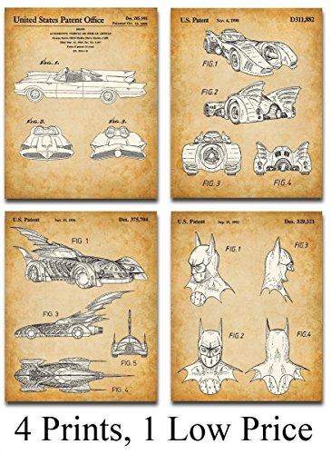 Original Batmobile Patent Art Prints - Set of Four Photos (11x14) Unframed - Great Gift Under $25 for Batman and Comic Fans]()