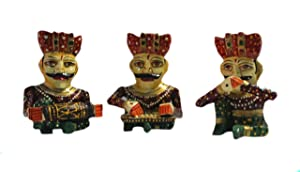 Laxman Art Wooden Handcrafted Rajasthani Statue Sitting Musician Figurine Set Bawla for Home Décor, Wall Decor and Gift Purpose (Set of 3 Pcs)