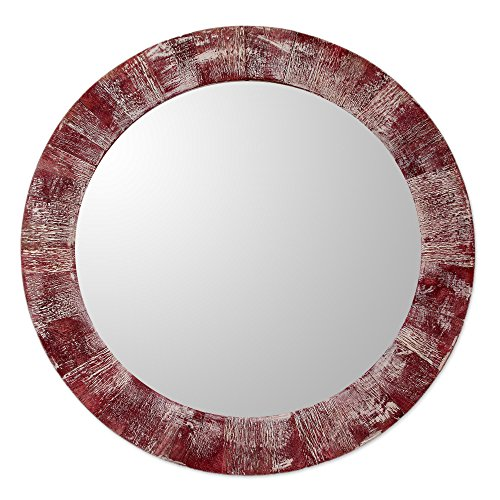NOVICA Wood wall mirror, Rustic - Frame Glasses Round India
