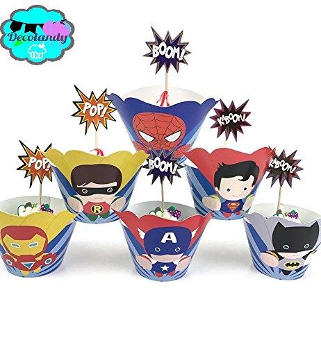 Decolandy 12 sets Supercute Superhero Cupcake toppers and wrappers, Avengers Cupcake toppers and wrappers, Superman batman ironman captain america spiderman robin wrappers ,superhero party decoration