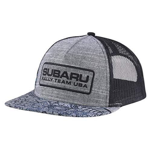 (SUBARU Genuine Floral Flatbill Cap Grey Rally Team USA Logo Gear Hat Impreza STI WRX Racing)