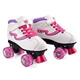 Xootz Disco Quad Skate, Roller Skates with LED Wheels, White, Size 1