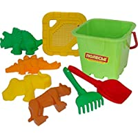 Polesie 35493 No.287 Sieve, Shovel, Rake No.5, Sand Forms (Tiger with Mammoth No.1 with Dinosaur No.2) -Sets: Fortress Bucket, Big, Multi Colour