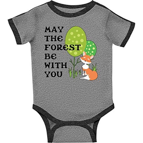 (inktastic - May The Forest Infant Creeper Newborn Ringer Heather and Smoke 290c0)