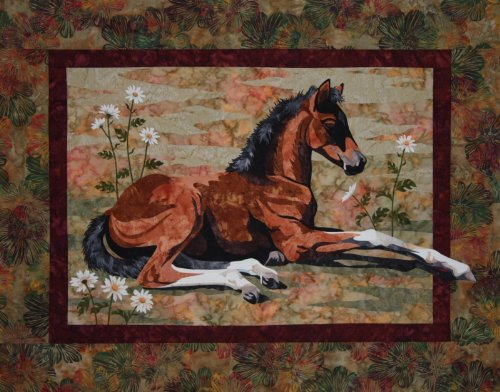 (Lazy Days Horse Foal Toni Whitney Designs Applique Quilt)