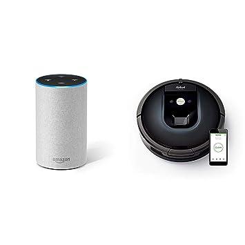 Echo gris claro + iRobot Roomba 981 - Robot aspirador para alfombras, potencia de succión