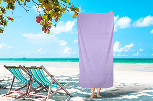 Corner4Shop Large 100% Turkish Cotton Ultra Soft Terry Velour Beach Towel Spa Bath Pool by (1, Lavender) ()