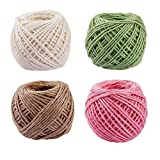 Moonight 4Pcs 40M/50M Colored Binding Natural Jute Twine DIY Decorative Rope for Art Craft Wedding and Gift Tags Wrap (4Pcs_50M)