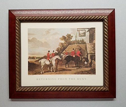 TheShoppe-USA Returning from The Hunt - English Fox Hunt Scene Picture - Beagle Horses Bugles Creek - Cherry Frame - English Cherry Frame