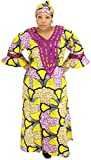 African Planet Women's Maxi Kaftan with Gele Headwrap (Yellow)