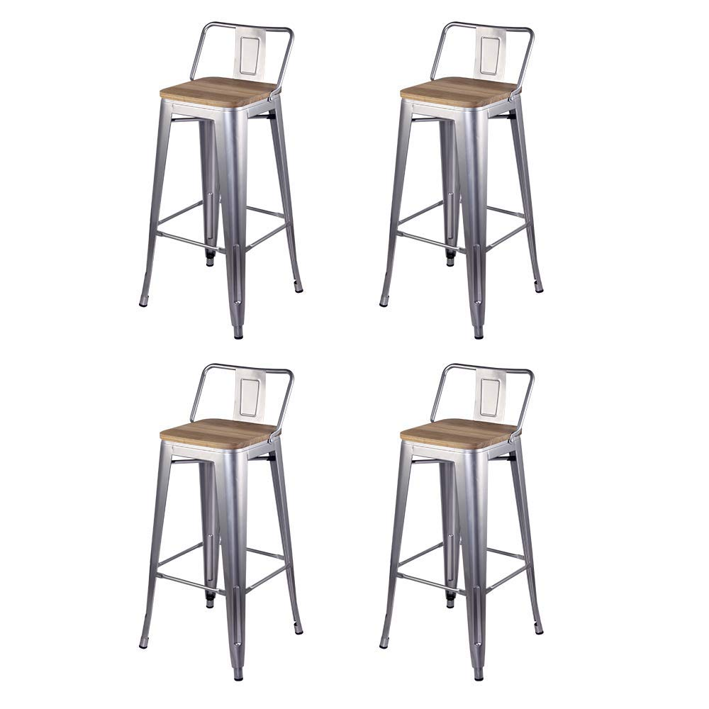 GIA 30-Inch Low-Back Bar Height Stool, 4-Pack, Silver/Light Wood Seat by GIA