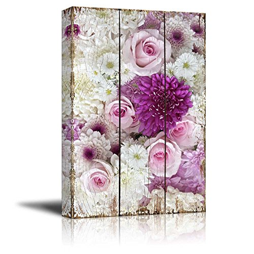 Field with Daisies Pink Roses and Purple Flowers Over Wooden Panels Nature
