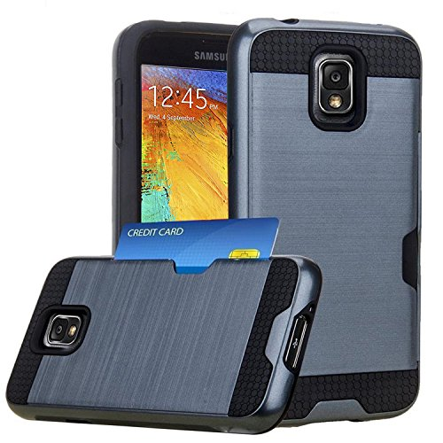 Note 3 Case, Galaxy Note 3 Case, Jwest Note 3 Wallet Case with ID Card Slot Holder Rugged Rubber Heavy Duty Shock Absorbent Armor Hybrid Defender Shock Proof Case Cover Skin - Navy Blue (Note Case Rubber 3 Cute)