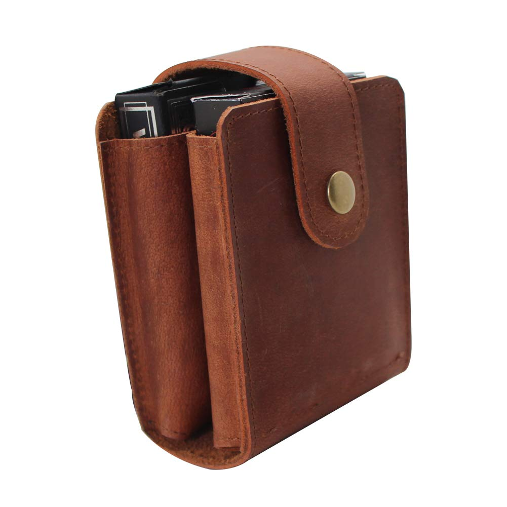Leather Double Playing Card Deck Holder Box with 2 Sets of Poker boshiho Playing Card Case