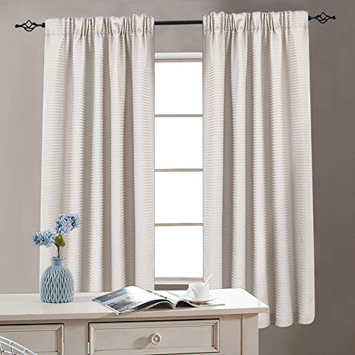 (Waffle Weave Window Bathroom Curtains Kitchen Curtains Window Curtain Set for Living Room 72 Inches Length, Oyster, 2)