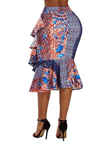 Extensible Dames Hanche Le de Haut Jupe Crayon de Orange Haute Longue de mi de Travail Paquet d'affaires Moulante LRUD Taille pour Bleu 8wqpF