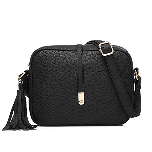 Black Leather Tassel Bag - 3