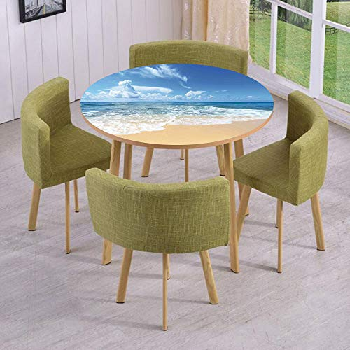 (Round Table/Wall/Floor Decal Strikers,Removable,Waves and Golden Paradise Beach with Sky Sun Endless Summer Sea Coast View Print,for Living Room,Kitchens,Office Decoration)