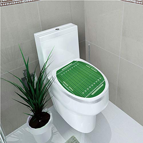 Toilet Cover Decoration,Football,Field of The Game Strategy Tactics End Zone Touchdown Sports Competition Theme,Green White,3D Printing,W11.8
