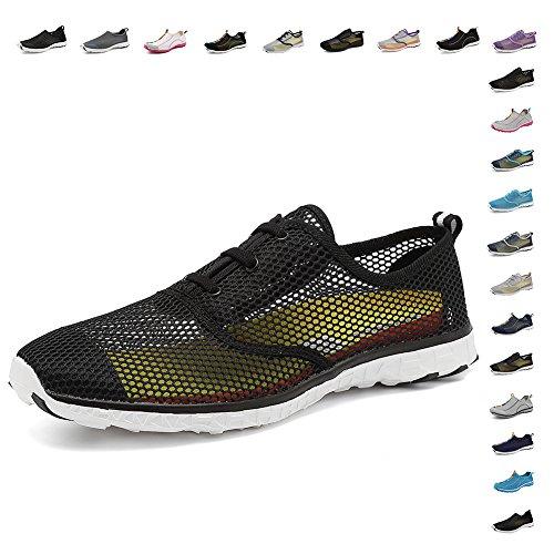 Fanture Men Womens Water Sports Quick-Dry Aqua Shoes 18 Drainage Holes Wading,Swim,Walking,Yoga,Beach,Drainage Black03-rlsm