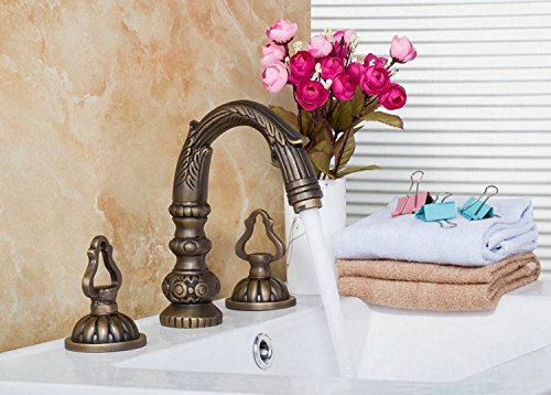 GOWE Antique Brass Construction Waterfall Deck Mounted Bathroom Basin Sink Bathtub Double Handles Mixer Tap Faucet by Gowe