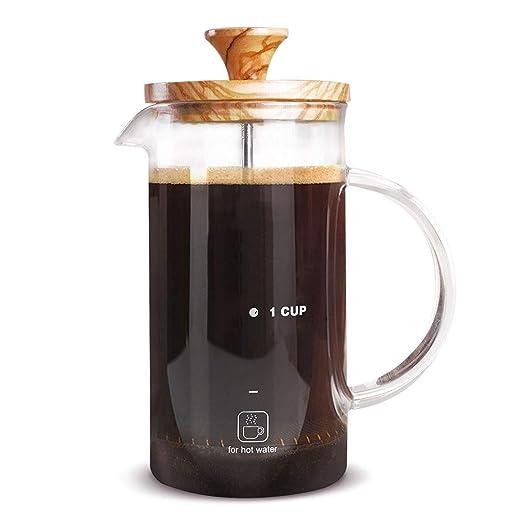 Cafetera Francesa de Madera de Olivo Rcircular, cafetera de ...