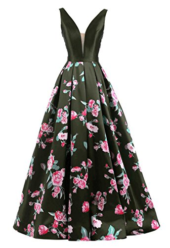 ShangShangXi Gorgeous Evening Gowns With Flowers Deep V Neck Low Back 2018 Floral Print Prom Dress Black,4