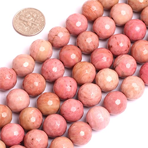 Rhodochrosite Beads for Jewelry Making Natural Gemstone Semi Precious 12mm Round Faceted 15