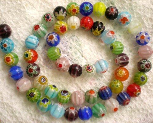- Millefiori Beads RAINBOW GLASS BEADS MIX 8mm 140 Beads 100 Grams