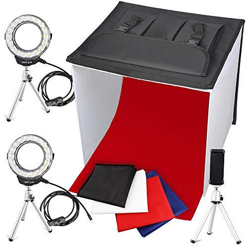 FOSITAN 사진 촬영 키트 40 * 40 * 40cm 2 * 14W 링 LED 라이트 탑재 카메라 삼각대 2 * 스탠드 라이트 4 색 배경 천 3 종류의 조정 가능한 스마트 폰용 클립 접이식