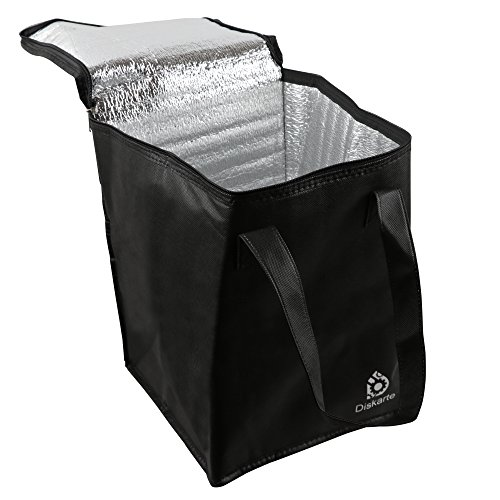 Commercial Quality Food Delivery Bag- 2 Piece Set Black Delivery Bag for Food- 13'' x 9'' x 9'' Dimensions- 80 GSM Nonwoven Polypropylene- Practical and Comfortable by Diskarte (Image #6)