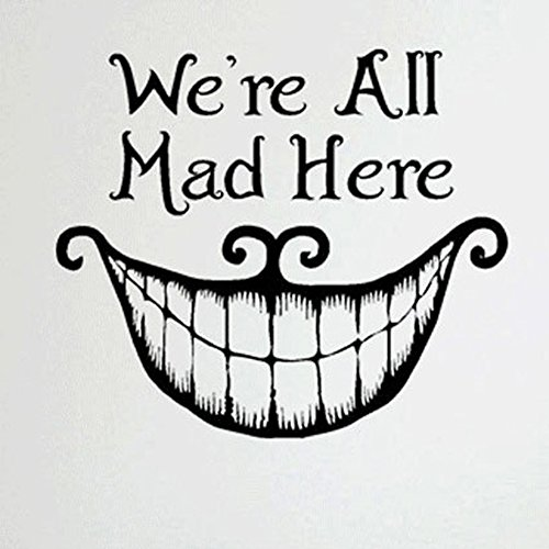 Mad Cheshire Cat - Fangeplus(R) DIY Removable Cheshire Cat's Smile We Are All Mad Here Art Mural Vinyl Waterproof Wall Stickers Kids Room Decor Nursery Decal Sticker Wallpaper20.8''x18.1''