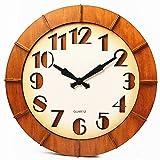 Relojes de Pared Reloj de cuarzo operado a batería de arte de pared redonda grande decorativa de 18 pulgadas Reloj de cuarzo, sin segundas manecillas, sin cubierta Estilo de país rústico Reloj de pare