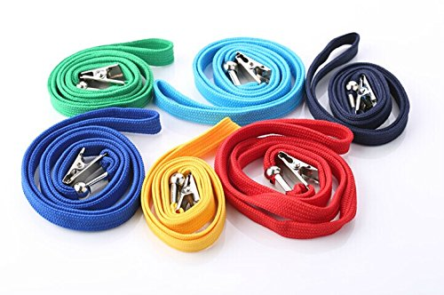 200Pcs Blue Blank Flat Nylon Neck Lanyards / Straps / Strings with Bulldog Badge Clip Attachment for Office ID Name Tags and Badge Holders by MagicW (Image #3)