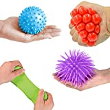 Mr. E=mc2 4 Pack Textured Sensory Balls by Tactile Fidget Toys Bundle for Boys and Girls | Knobby, Pull Stretch Bounce Ball, Grape Mesh Squeeze, Puffer Ball | Kids Novelty Toys, Stress, Anxiety, ADD