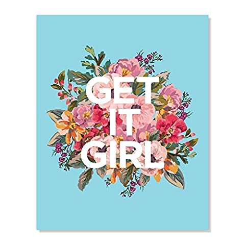 Floral Art : Get it Girl Poster Print, Pink Turquoise White (8x10 inches) (Get Special)