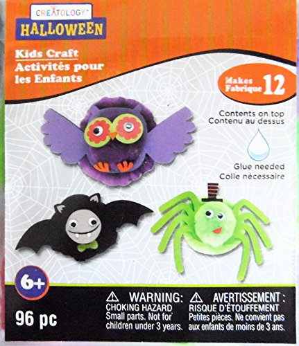 Halloween Decorations Owl, Spider and Bat Foam Pom Pom Activity Kit Art Project Makes 12 -