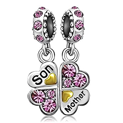 JMQJewelry Mom Mother Heart Love Son Birthday Birthstone Charms Jan-Dec Dangle Bead For Bracelets